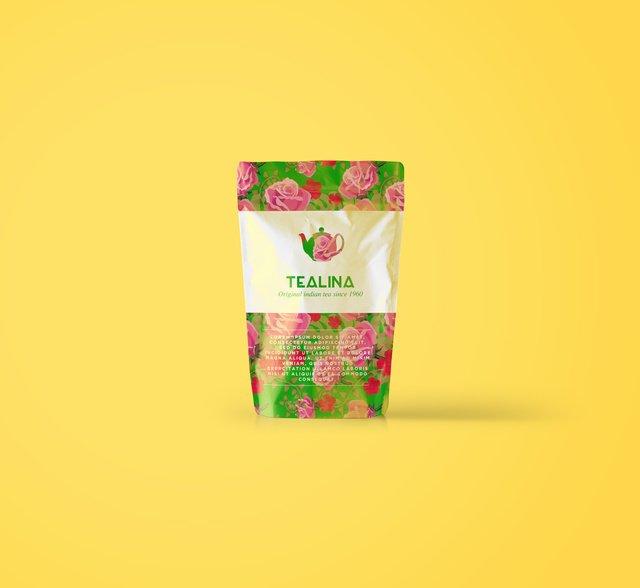 Tea flower packaging editorial image.